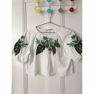 Zara Embroidered Crop Top